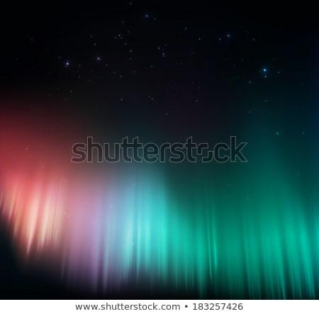 Green northern lights, aurora borealis. EPS 10 Stock photo © beholdereye