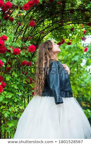 Lány bőr ruha gyönyörű fiatal nő sötét Stock fotó © svetography