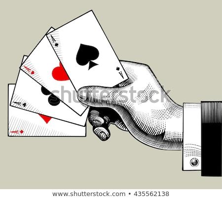 Klasszikus póker kártya rózsa háttér kaszinó Stock fotó © carodi