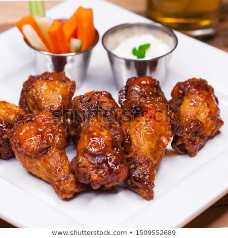 Hete saus kip plaat geïsoleerd witte Stockfoto © Antonio-S