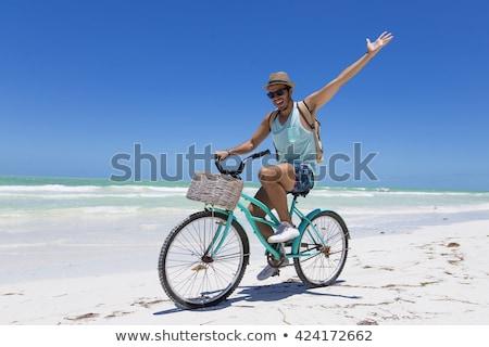 велосипед · пляж · закат · воды · трава - Сток-фото © zurijeta