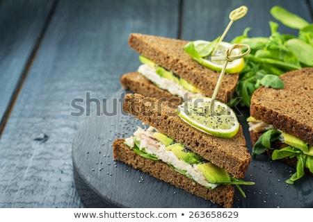 Aperitivo cremoso salada de frango servido comida folha Foto stock © Klinker