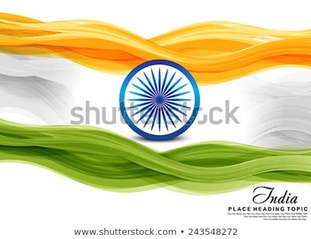 Indiai zászló hullám csakra tapéta kerék Stock fotó © rioillustrator