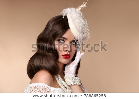Stock photo: Wedding Portrait Of Beautiful  Bride with long wavy hair wearing