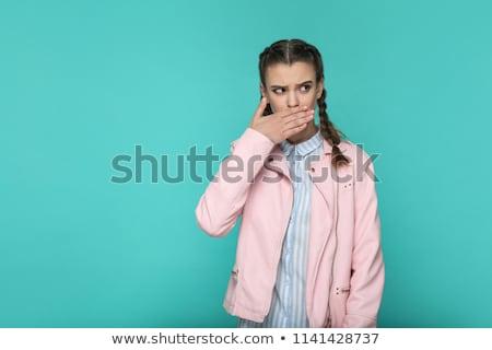 Jovem belo tímido cabelo castanho retrato Foto stock © meinzahn