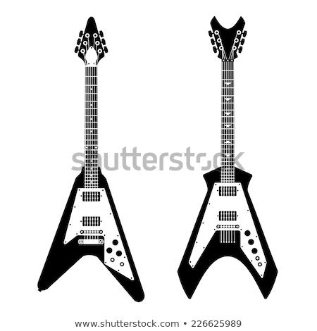 Guitarra eléctrica clipart imagen música rojo Foto stock © vectorworks51