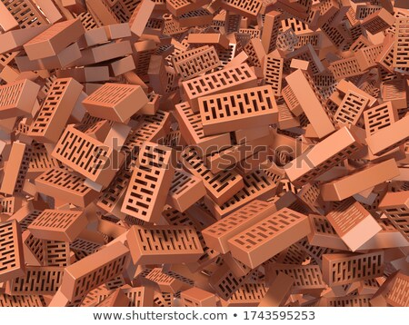 Heap of falling, flying, scattered bricks background. 3D Stock photo © djmilic