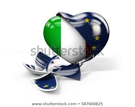3d illusztráció Olaszország európai szövetség törött zászló Stock fotó © tussik