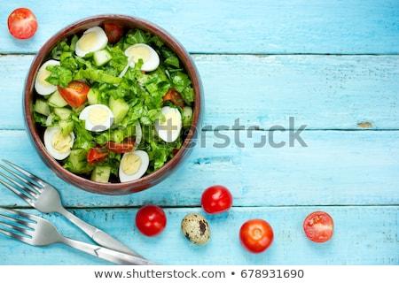 Taze İtalyan salata yumurta domates lezzetli Stok fotoğraf © Yatsenko