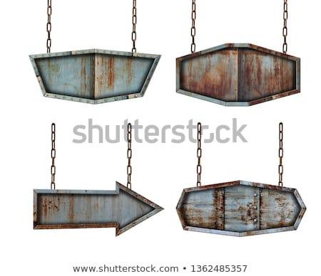Rozsdás fém nyíl terv ipar tányér Stock fotó © SwillSkill