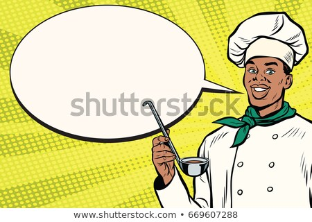 African chef with ladle cartoon bubble Stock photo © studiostoks
