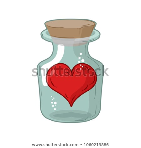Heart in jar. Love in flask. Amur in confinement of allegory Stock photo © MaryValery