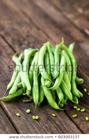 Stock fotó: Friss · zöldbab · sötét · fából · készült · rusztikus · háttér