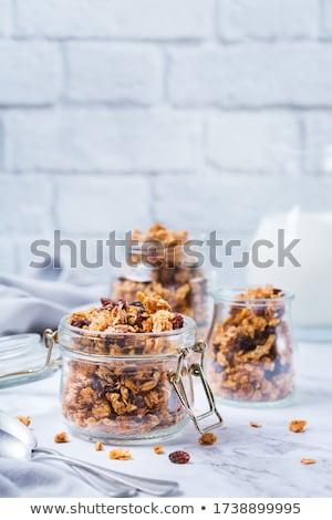 reggel · granola · mogyoró · mazsola · bögre · közelkép - stock fotó © digifoodstock