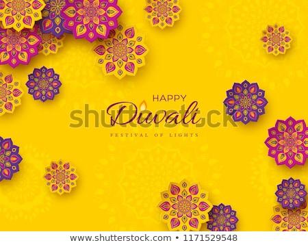 yellow festival background with diwali diya lamp and mandala dec Stock photo © SArts