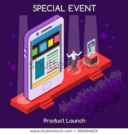 Grafikai tervezés laptop konferencia előcsarnok 3D modern Stock fotó © tashatuvango