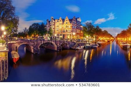 вечер · Амстердам · исторический · домах · Нидерланды · Европа - Сток-фото © dirkr
