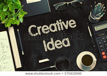 Neue Ideen Text schwarz Tafel 3D Stock foto © tashatuvango