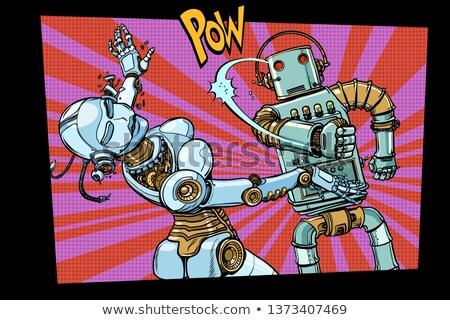 Mannelijke vrouwelijke robots vechten huiselijk geweld pop art Stockfoto © studiostoks