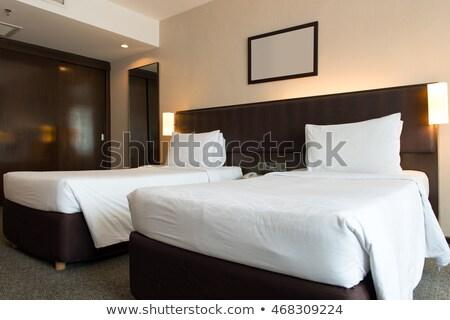 dwa · poduszkę · sypialni · biały · bed · arkusza - zdjęcia stock © kenishirotie