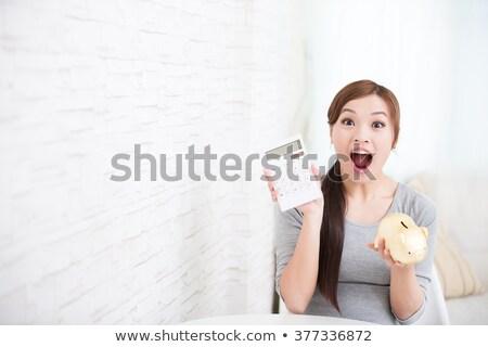 asian · femme · séance · banque · sûr · smartphone - photo stock © studioworkstock
