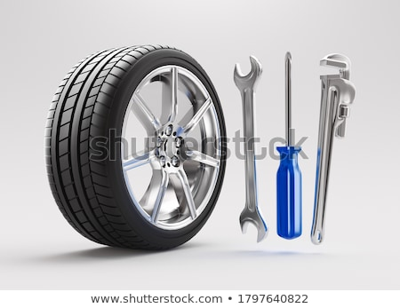 dos · mecánica · equilibrio · rueda · coche · taller - foto stock © dolgachov