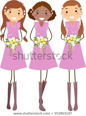 девочек деревенский свадьба иллюстрация молодые розовый Сток-фото © lenm