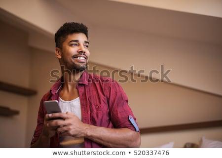 genç · cep · telefonu · beyaz · telefon · adam - stok fotoğraf © deandrobot