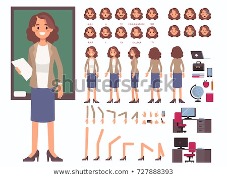 conjunto · desenho · animado · professor · projeto · animação - foto stock © voysla