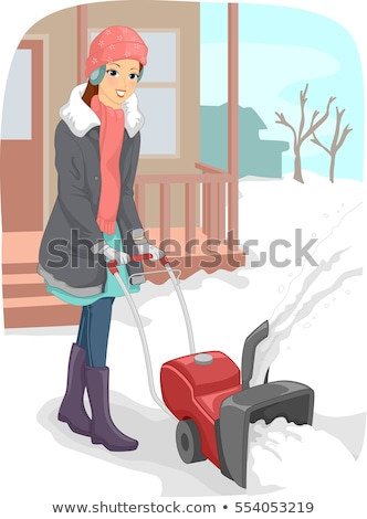 Girl Snow Blower Driveway Stock photo © lenm