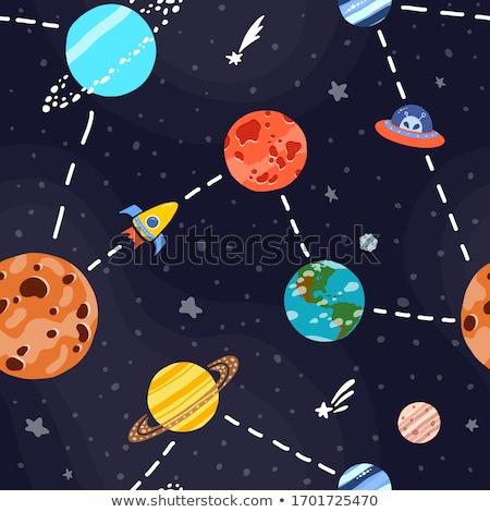 Ufo komik ikon kozmik vektör Stok fotoğraf © yopixart