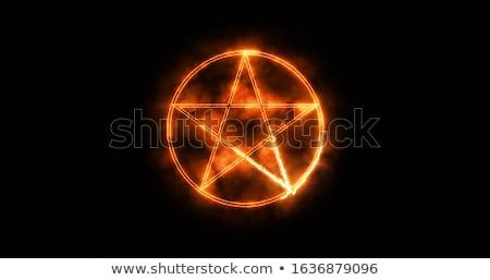 Démon signe illustration papier affiche graphique Photo stock © cthoman
