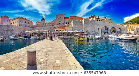 Old walls and bell tower in Dubrovnik in Croatia Stock photo © bezikus