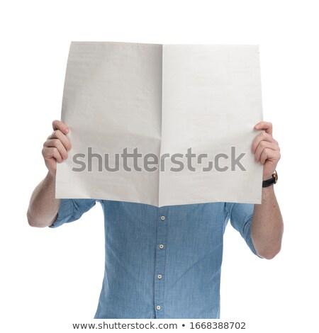 homem · jornal · leitura · café - foto stock © deandrobot