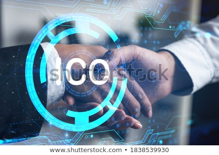 businesspeople with cryptocurrency holograms stock photo © dolgachov