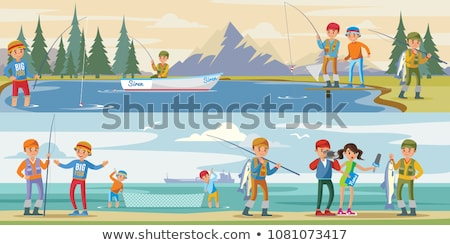 Fishing Equipment and Fisher with Catch Color Card Stock photo © robuart