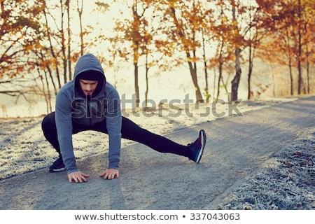 jóképű · atléta · göndör · haj · fiatal · meztelen · fitnessz - stock fotó © boggy