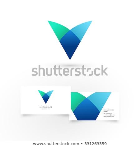 Mavi yeşil mektup vektör ikon simge Stok fotoğraf © blaskorizov