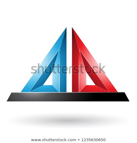 blue and red 3d pyramidical embossed shape vector illustration stock photo © cidepix