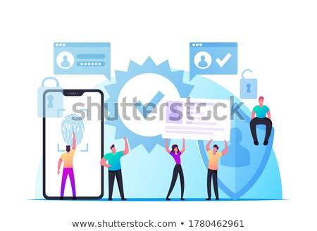 Identificación teléfono móvil impresión vector humanos Foto stock © robuart