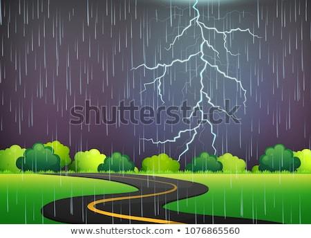 Weg reis onweersbui nacht illustratie abstract Stockfoto © colematt