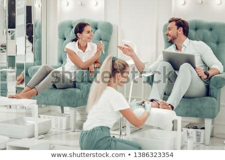 salone · di · bellezza · banner · pedicure · lavoratori · clienti · diverso - foto d'archivio © robuart