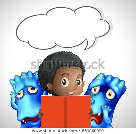 пузыря речи шаблон девушки Монстры чтение Сток-фото © colematt