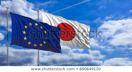 Two waving flags of Japan and EU Stock photo © MikhailMishchenko