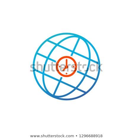 World time sign icon. Universal time globe symbol. Blue shiny button. Modern UI website button. Vect Stock photo © kyryloff