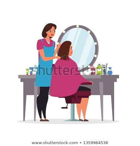 Szépségszalon ügyfelek felszerlés rajz belső plakátok Stock fotó © robuart