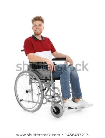 Genç yakışıklı adam tekerlekli sandalye hastane araba mutlu Stok fotoğraf © Elnur
