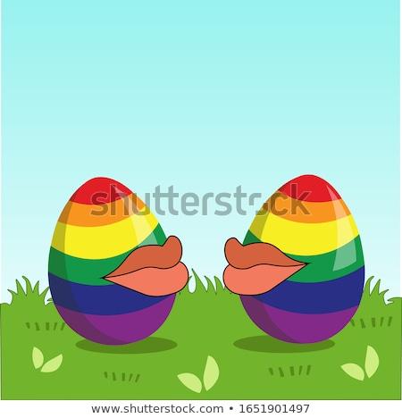 Dos huevos colores arco iris bandera Foto stock © galitskaya