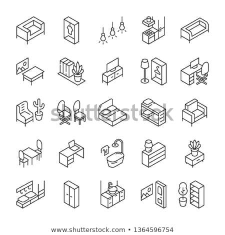 kitchen outline isometric icons set stock photo © netkov1