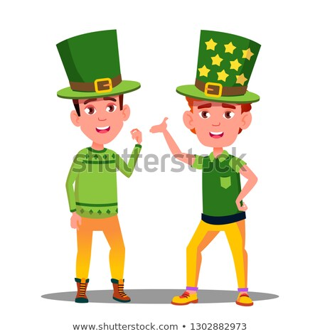 boys in green suits at st patrick day in ireland vector isolated illustration stock photo © pikepicture
